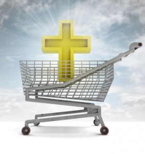 golden holy cross in shoping cart with sky flare